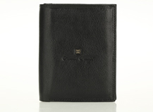 HASSION black vegetable leather wallet for men with 2 flap