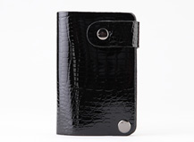 HASSION cute card holders for ladies black lizard leather card cases