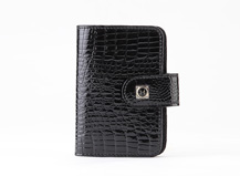 HASSION leather name card with clasp Lizard leather name card holder for lady