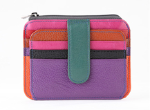 HASSION colorful cross leather card cases  with zipper and clasp for women