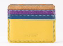 HASSION colorful cow leather card cases with maggic string for women